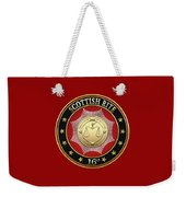16th Degree - Prince Of Jerusalem Jewel On Red Leather Weekender Tote Bag