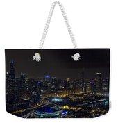 Chicago Night Skyline Aerial Photo Weekender Tote Bag