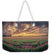 180 Degree View Of Sunrise Over Tulip Field Weekender Tote Bag