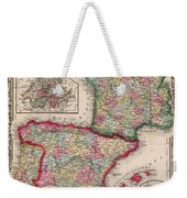 1800s France, Spain And Portugal County Map Color Weekender Tote Bag
