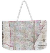 1859 Colton Pocket Map Of Arkansas  Weekender Tote Bag