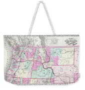 1866 Colton Map Of Oregon Washington Idaho And Montana W Wyoming Weekender Tote Bag