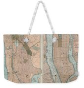 1899 Home Life Map Of New York City  Manhattan And The Bronx  Weekender Tote Bag