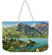 1900s Switzerland Swiss Alps Spiez Mit Ralligstoecke Weekender Tote Bag