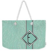 1920s Blue Deco Jazz Swing Monogram ...letter E Weekender Tote Bag