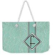 1920s Blue Deco Jazz Swing Monogram ...letter F Weekender Tote Bag