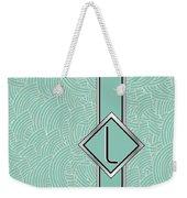 1920s Blue Deco Jazz Swing Monogram ...letter L Weekender Tote Bag