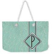 1920s Blue Deco Jazz Swing Monogram ...letter P Weekender Tote Bag