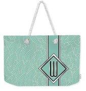 1920s Blue Deco Jazz Swing Monogram ...letter W Weekender Tote Bag