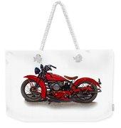 1940's Indian Motorcycle Weekender Tote Bag by Mamie Thornbrue