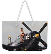 1940s Style Navy Pin-up Girl Sitting Weekender Tote Bag