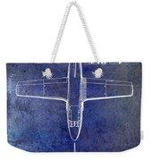 1949 Airplane Patent Drawing Blue Weekender Tote Bag