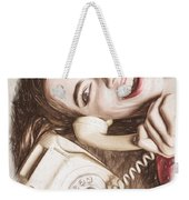 1950s Pinup Girl Talking On Retro Phone Weekender Tote Bag