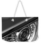 1956 Cadillac Eldorado Wheel Black And White Weekender Tote Bag