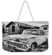 1958 Chevy Del Ray In Black And White Weekender Tote Bag