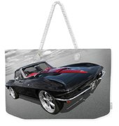 1963 Corvette Stingray Split Window In Black And Red Weekender Tote Bag