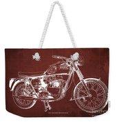 1963 Triumph Bonneville, Blueprint Red Background Weekender Tote Bag