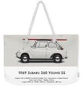 1969 Subaru 360 Young Ss - Creme Weekender Tote Bag