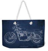 1969 Triumph Bonneville Blueprint Blue Background Weekender Tote Bag