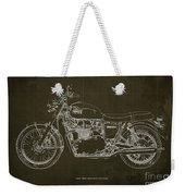 1969 Triumph Bonneville Blueprint Brown Background Weekender Tote Bag