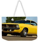 1970 Hemi 'cuda - Lemon Twist Yellow Weekender Tote Bag