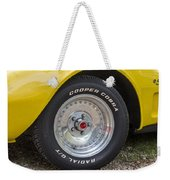 1976 Canary Yellow Vette Wheel Weekender Tote Bag