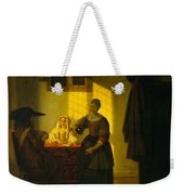 A Couple Playing Cards With A Serving Woman Weekender Tote Bag