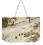 A Flock Of Sheep In A Snowstorm Weekender Tote Bag