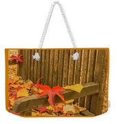 A Foliage Pillow On A Bench In A Woodland Weekender Tote Bag