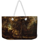 A Forest At Dawn With A Deer Hunt Weekender Tote Bag