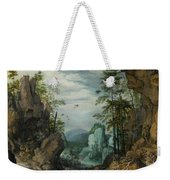 A Rocky Landscape With Travelers Weekender Tote Bag