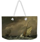 A Small Dutch Vessel Close-hauled In A Strong Breeze Weekender Tote Bag