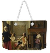 A Woman Drinking With Two Men Weekender Tote Bag