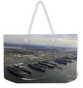 Aircraft Carriers In Port At Naval Weekender Tote Bag