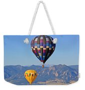 2 Balloons Flying Over The Flatirons Weekender Tote Bag by Scott Mahon