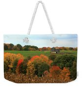 Barn On Autumn Hillside  A Seasonal Perspective Of A Quiet Farm Scene Weekender Tote Bag