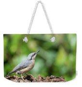 Beautiful Nuthatch Bird Sitta Sittidae On Tree Stump In Forest L Weekender Tote Bag