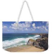Bedruthan Steps Beach And Atlantic Surf In Summer Sun Cornwall  Weekender Tote Bag