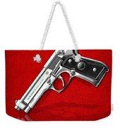 Beretta 92fs Inox Over Red Leather  Weekender Tote Bag