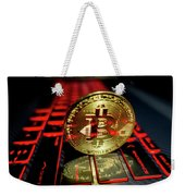 Bitcoin Coin L On Laptop Keyboard Weekender Tote Bag
