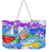 2 Boats And Yellow Fish Weekender Tote Bag