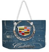 Cadillac 3 D Badge Over Cadillac Escalade Blueprint  Weekender Tote Bag