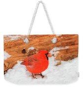 #2 Cardinal In Snow Weekender Tote Bag