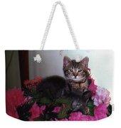2 Cats In The Flowers Weekender Tote Bag