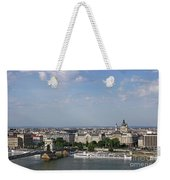 Chain Bridge On Danube River Budapest Cityscape Weekender Tote Bag