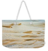 Close-up Of Beautiful Sunlit Ripple Surface Of Sand In Desert  Weekender Tote Bag