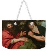 Democritus And Heraclitus Weekender Tote Bag