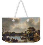 Dutch Landscape With Fishers Weekender Tote Bag