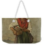 Fish Seller With The Vesuvio In The Background Weekender Tote Bag