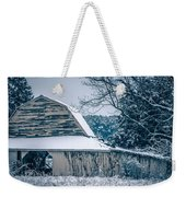Fresh Snow Sits On The Ground Around An Old Barn Weekender Tote Bag
